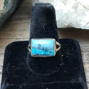 Marine Blue Dendritic Opal and Sterling Ring